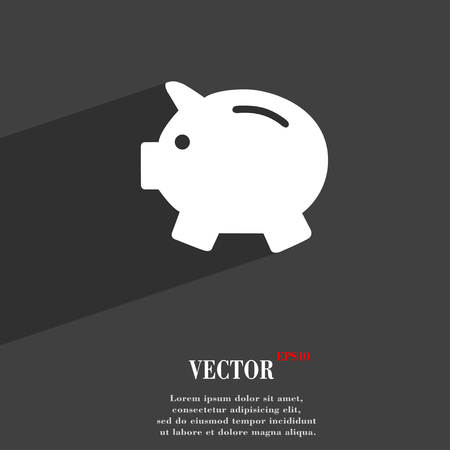 mumps: Piggy bank - saving money symbol Flat modern web design with long shadow and space for your text. Vector illustration