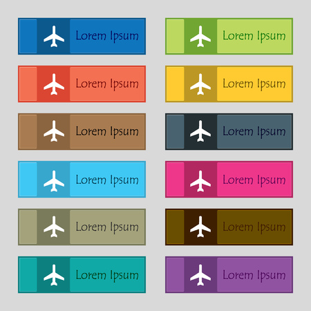 Plane icon sign. Set of twelve rectangular, colorful, beautiful, high-quality buttons for the site. Vector illustration