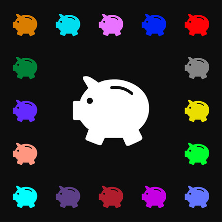mumps: Piggy bank - saving money icon sign. Lots of colorful symbols for your design. Vector illustration