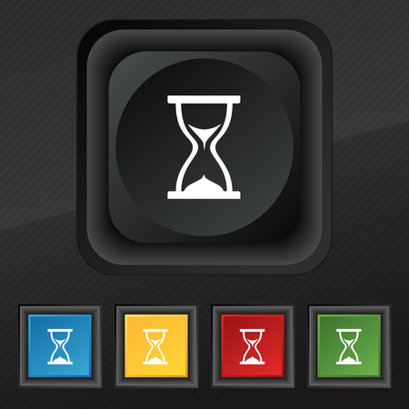 timepieces: hourglass icon symbol. Set of five colorful, stylish buttons on black texture for your design. Vector illustration
