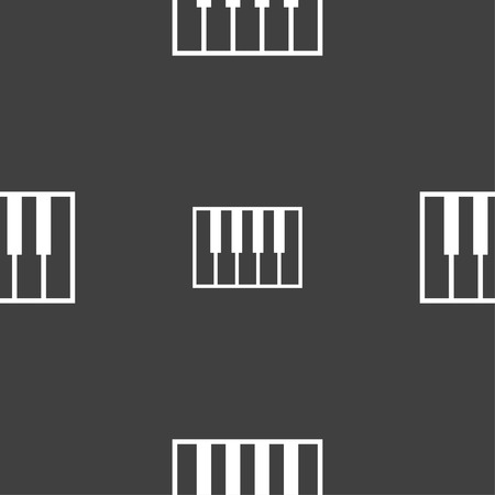 octave: piano key icon sign. Seamless pattern on a gray background. Vector illustration