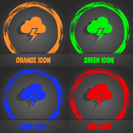 heavy: Heavy thunderstorm icon. Fashionable modern style. In the orange, green, blue, red design. Vector illustration