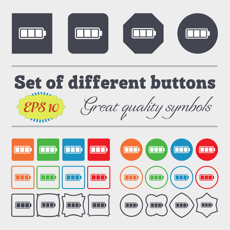 fully: Battery fully charged icon sign. Big set of colorful, diverse, high-quality buttons. Vector illustration