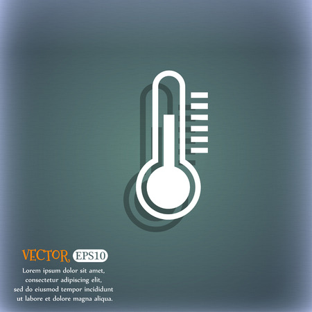 bluegreen: Thermometer icon. On the blue-green abstract background with shadow and space for your text. Vector illustration