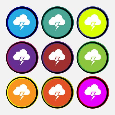 precipitation: Heavy thunderstorm icon sign. Nine multi colored round buttons. Vector illustration Illustration