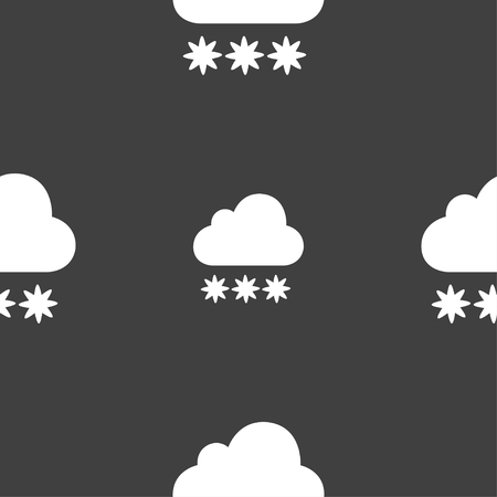 forecasting: snow cloud icon sign. Seamless pattern on a gray background. Vector illustration