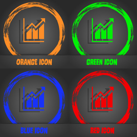 uptrend: Growing bar chart icon. Fashionable modern style. In the orange, green, blue, red design. Vector illustration