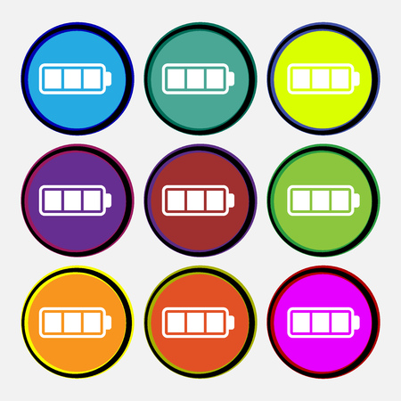 fully: Battery fully charged icon sign. Nine multi colored round buttons. Vector illustration
