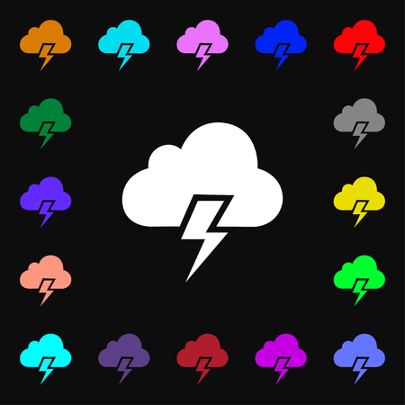 heavy: Heavy thunderstorm icon sign. Lots of colorful symbols for your design. Vector illustration