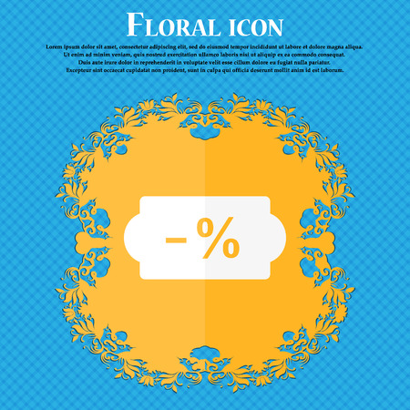 ten empty: SALE tag icon. Floral flat design on a blue abstract background with place for your text. Vector illustration