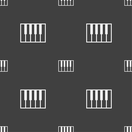 piano key: piano key icon sign. Seamless pattern on a gray background. Vector illustration