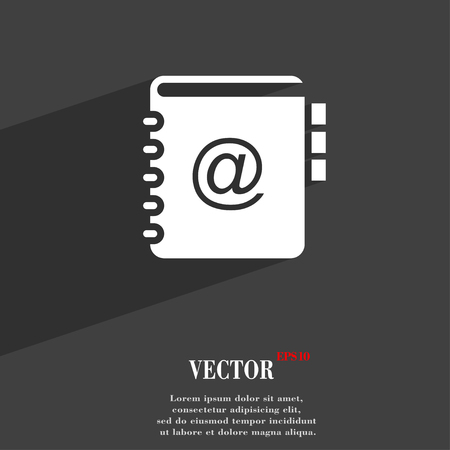 web address: Notebook, address, phone book symbol Flat modern web design with long shadow and space for your text. Vector illustration