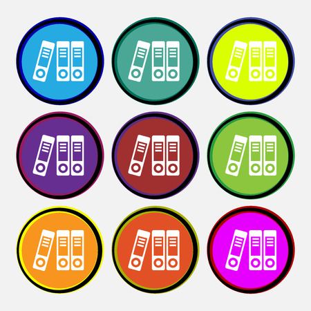 noticeable: binders  icon sign. Nine multi colored round buttons. Vector illustration Illustration
