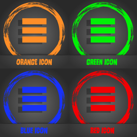 thumbnails: List menu, app icon. Fashionable modern style. In the orange, green, blue, red design. Vector illustration