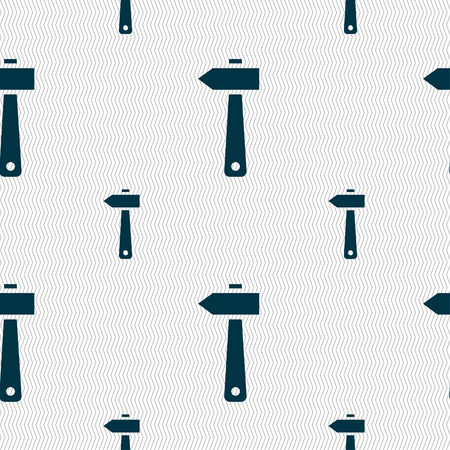 tooling: hammer icon sign. Seamless pattern with geometric texture. Vector illustration