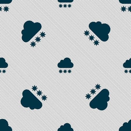 forecasting: snow cloud icon sign. Seamless pattern with geometric texture. Vector illustration