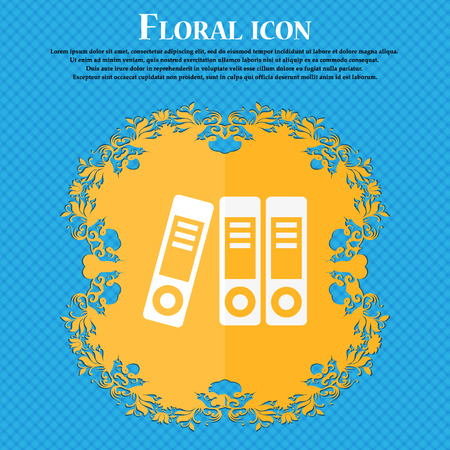 noticeable: binders  icon. Floral flat design on a blue abstract background with place for your text. Vector illustration
