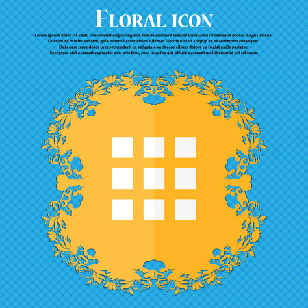 thumbnails: List menu, app icon. Floral flat design on a blue abstract background with place for your text. Vector illustration Illustration