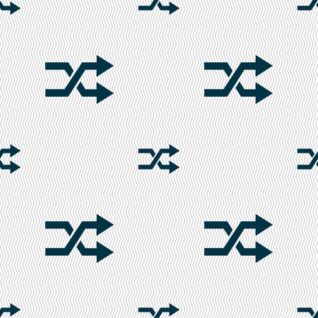 shuffle: shuffle icon sign. Seamless pattern with geometric texture. Vector illustration
