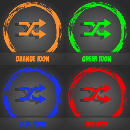 shuffle: shuffle icon. Fashionable modern style. In the orange, green, blue, red design. Vector illustration Illustration