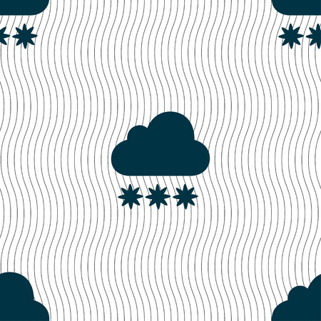 stormy clouds: snow cloud icon sign. Seamless pattern with geometric texture. Vector illustration