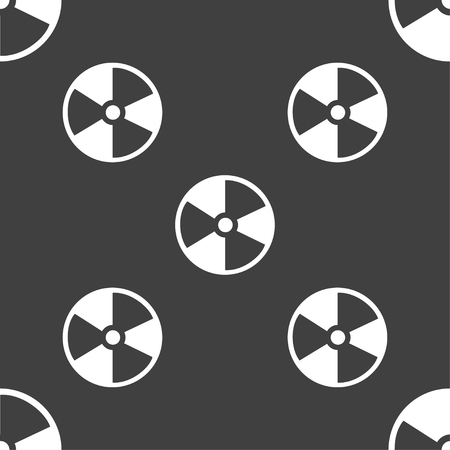 radioactive tank and warning sign: radioactive icon sign. Seamless pattern on a gray background. Vector illustration