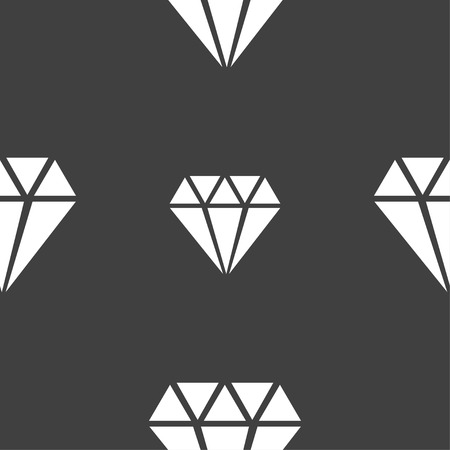 diamond icon sign. Seamless pattern on a gray background. Vector illustration