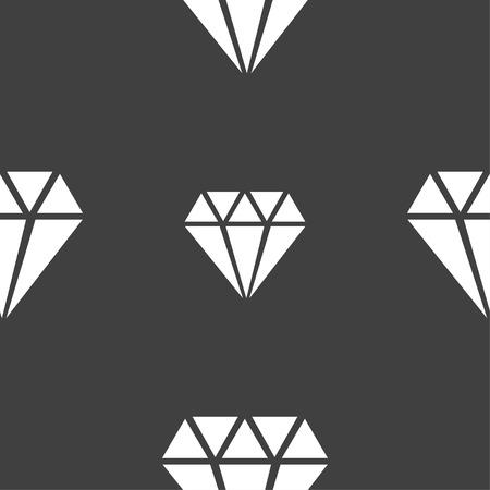 signo icono de diamante. patrón transparente sobre un fondo gris. ilustración vectorial