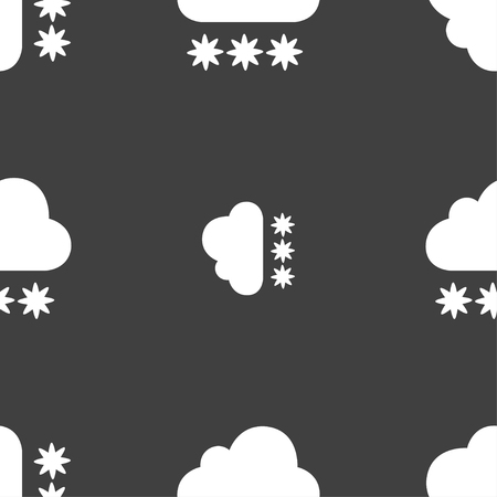 predict: snow cloud icon sign. Seamless pattern on a gray background. Vector illustration