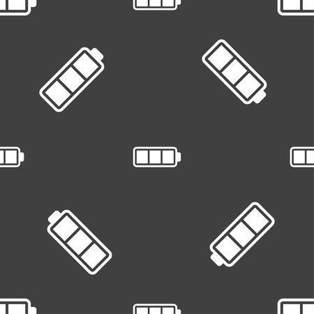 fully: Battery fully charged icon sign. Seamless pattern on a gray background. Vector illustration Illustration