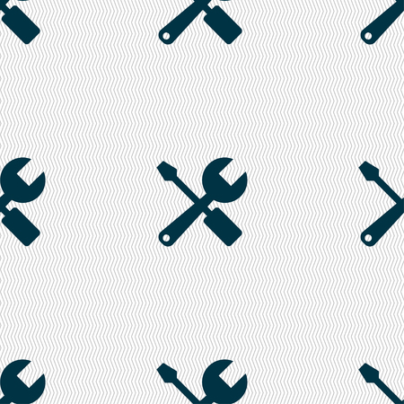 turn screw: wrench and screwdriver icon sign. Seamless pattern with geometric texture. Vector illustration Illustration