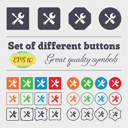 turn screw: wrench and screwdriver icon sign. Big set of colorful, diverse, high-quality buttons. Vector illustration