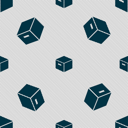 stockpile: packaging cardboard box icon sign. Seamless pattern with geometric texture. Vector illustration