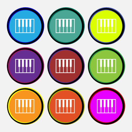 piano key: piano key icon sign. Nine multi colored round buttons. Vector illustration Illustration