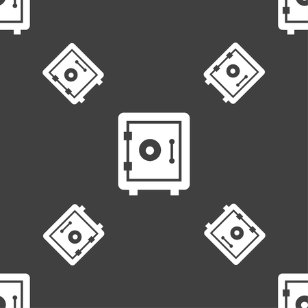 financial stability: safe icon sign. Seamless pattern on a gray background. Vector illustration