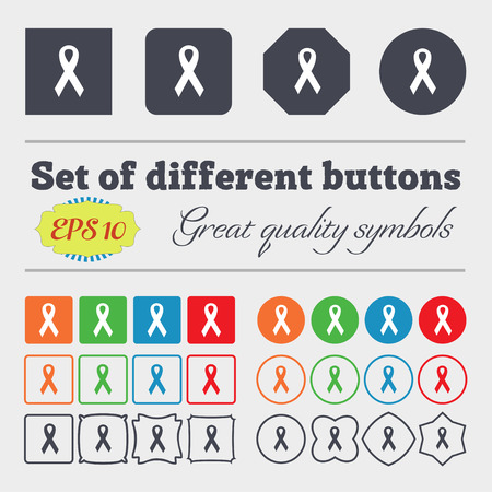 big breast: ribbon, breast cancer awareness month icon sign. Big set of colorful, diverse, high-quality buttons. Vector illustration