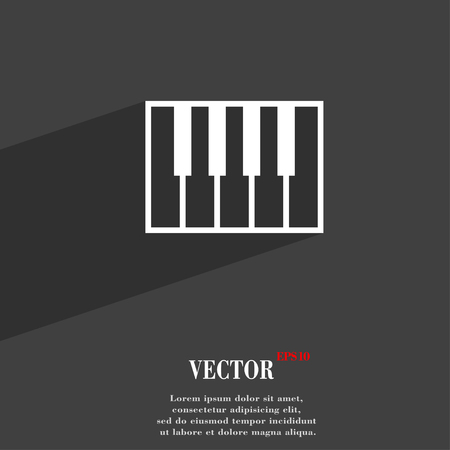 piano key: piano key symbol Flat modern web design with long shadow and space for your text. Vector illustration Illustration