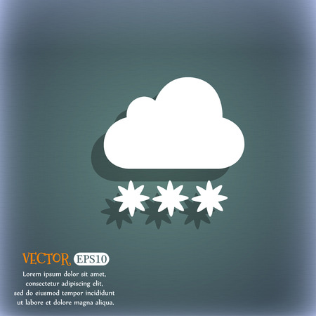stormy clouds: snow cloud icon. On the blue-green abstract background with shadow and space for your text. Vector illustration