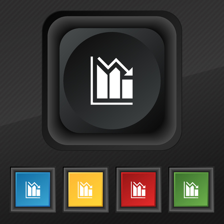uptrend: histogram icon symbol. Set of five colorful, stylish buttons on black texture for your design. Vector illustration Illustration