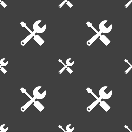 tuning turn screw: wrench and screwdriver icon sign. Seamless pattern on a gray background. Vector illustration
