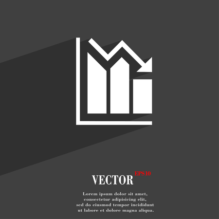 uptrend: histogram symbol Flat modern web design with long shadow and space for your text. Vector illustration Illustration