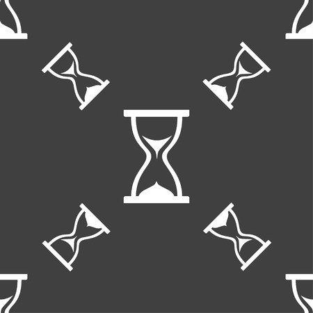 timepieces: hourglass icon sign. Seamless pattern on a gray background. Vector illustration Illustration