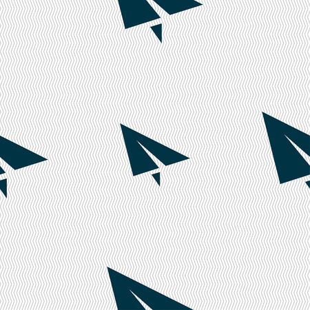 moving office: Paper airplane icon sign. Seamless pattern with geometric texture. Vector illustration