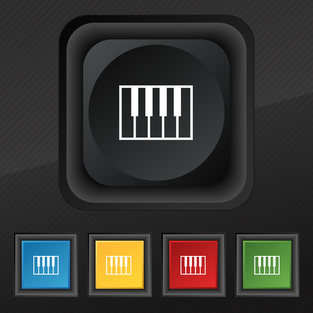 piano key: piano key icon symbol. Set of five colorful, stylish buttons on black texture for your design. Vector illustration Illustration