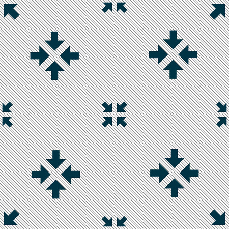 minimize: Exit full screen icon sign. Seamless pattern with geometric texture. Vector illustration Illustration