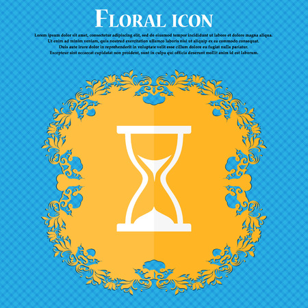 timepieces: hourglass icon. Floral flat design on a blue abstract background with place for your text. Vector illustration