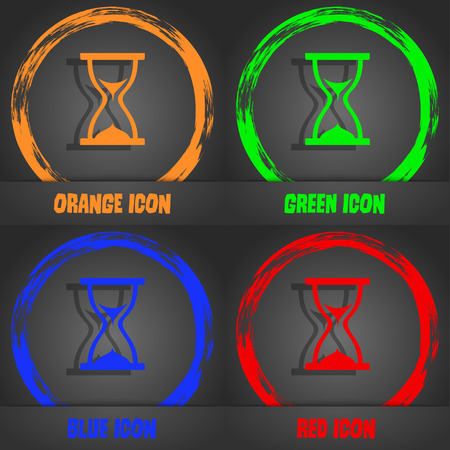 timepieces: hourglass icon. Fashionable modern style. In the orange, green, blue, red design. Vector illustration