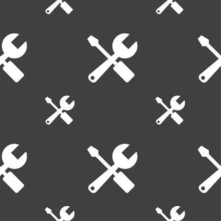 revamp: wrench and screwdriver icon sign. Seamless pattern on a gray background. Vector illustration