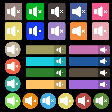 computer socket: No Volume icon sign. Set from twenty seven multicolored flat buttons. Vector illustration