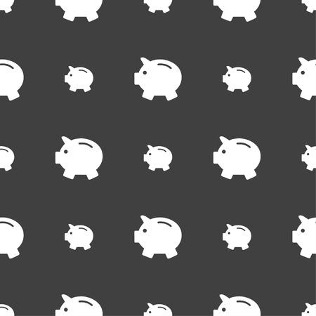 mumps: Piggy bank - saving money icon sign. Seamless pattern on a gray background. Vector illustration Illustration
